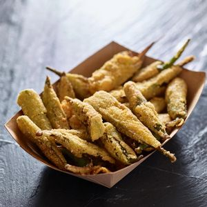 crispy fried okra in container