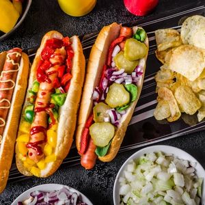 All beef dogs, variantion of hot dogs, onions, beef, garlic, chips, paprika, chilli, mustard, ketchup