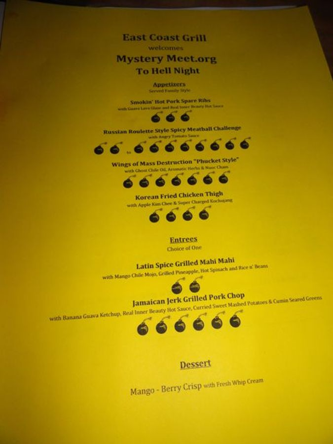 The heat of Hell Night dishes are rated on a scale from 1 to 10 bombs.