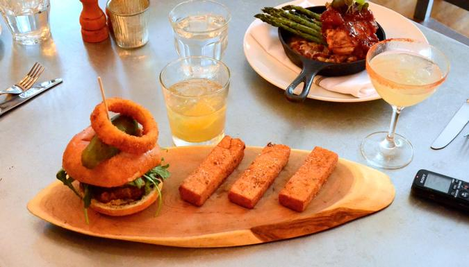 Fried polenta sticks with a longhorn beef burger and roasted chicken breast on asparagus.