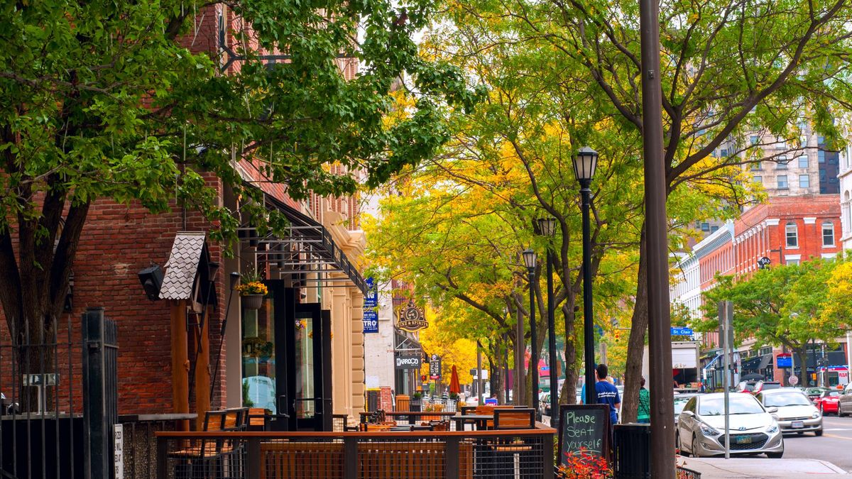 CLEVELAND, OH - OCTOBER 5: The trendy club and restaurant district of West 6th Street in Cleveland Ohio, with al fresco dining on the sidewalks, begins to come alive on an October morning.