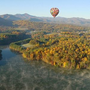 Hot Air Balloon Over Enka Lake in Fall