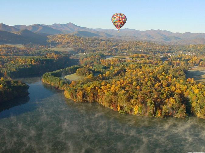Hot Air Balloon Over Enka Lake in Fall