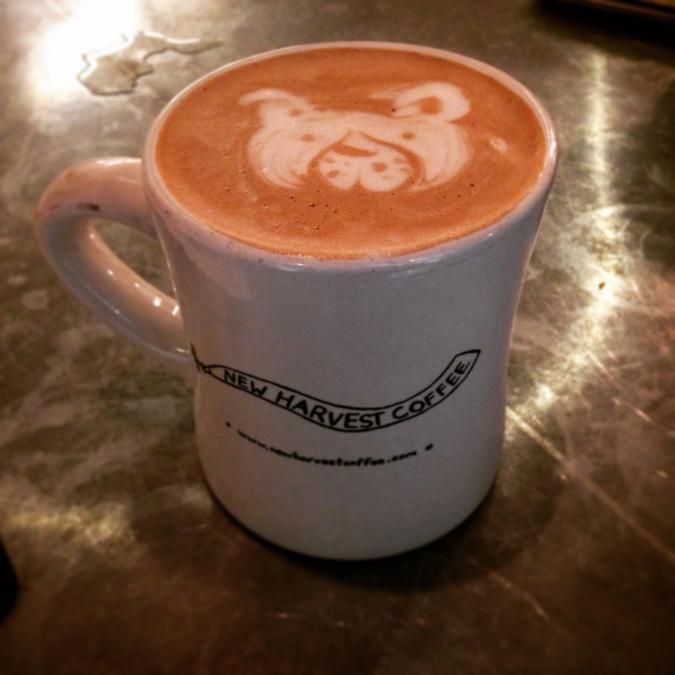 Hot chocolate with dog latte art!