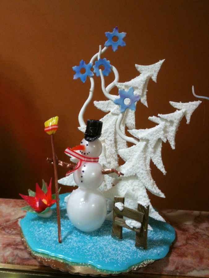snowman sugar showpiece