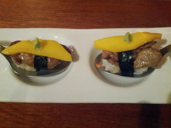 Foie gras nigiri at Octopus Garden
