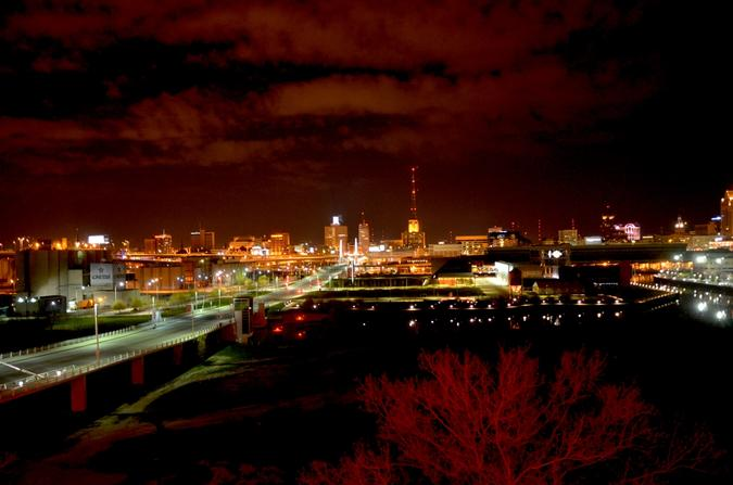 Milwaukee skyline at night from the Iron Horse Hotel