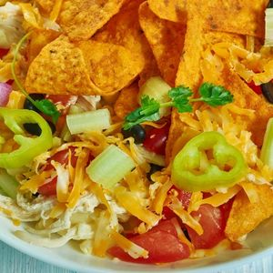 BBQ Ranch Pasta Salad, Southwest  cuisine, Traditional assorted American dishes, Top view.