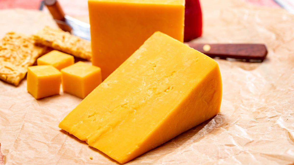 British matured yellow cheddar cheese close up