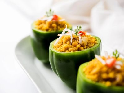 Stuffed capsicum or bharwa shimla mirchi is a popular Indian main course recipe.