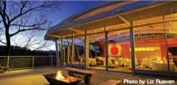 Plato's at Aspen Meadows: Bauhaus structure at sunset