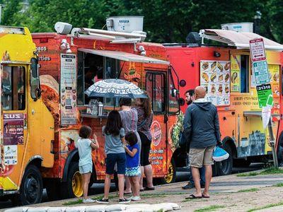 Washington DC, USA - June 9, 2019: Food trucks and people on the National Mall