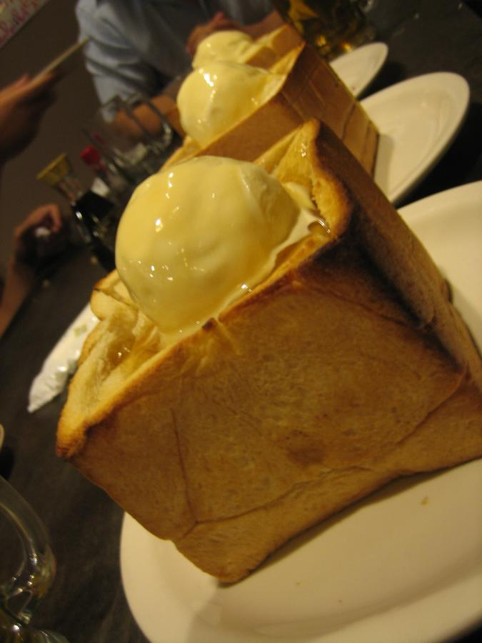 Warm and gooey icecream, crispy toast and a generous drizzle of honey