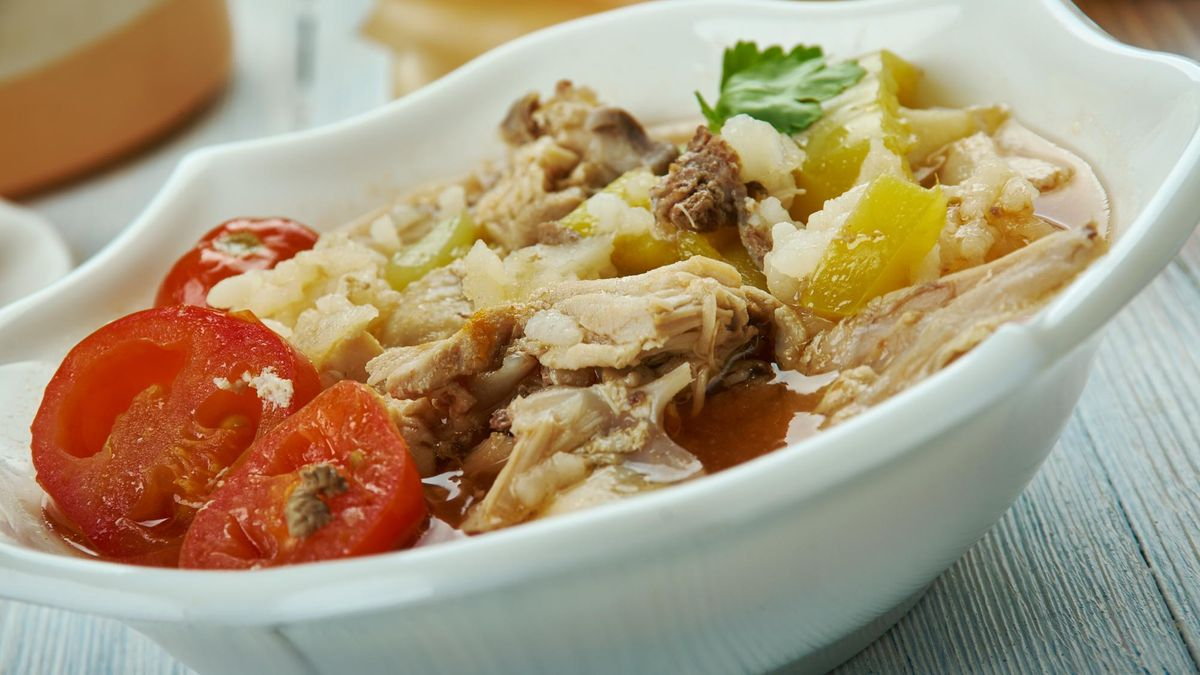 Creole Chicken Gumbo Soup , Creole cuisine, Traditional assorted dishes, Top view.