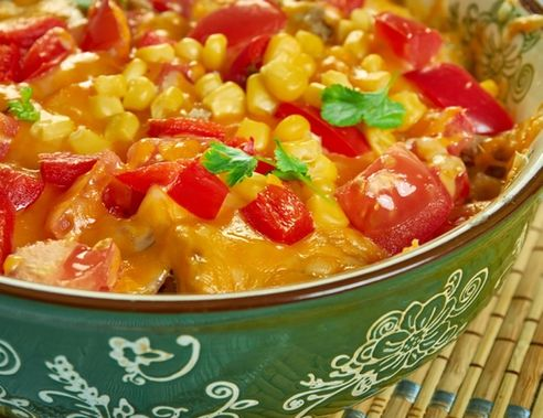 Southwestern Burrito Bowl Bake, Southwest  cuisine, Traditional assorted American dishes, Top view.
