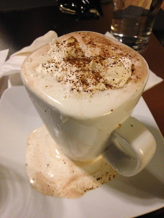 Hot chocolate with homemade whipped cream