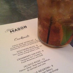 Cocktail Menu at Knox Mason