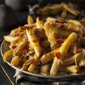 Homemade Salty Cheese French Fries with Bacon