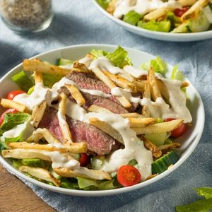Homemade Pittsburgh Salad with Steak and French Fries