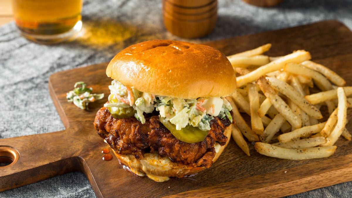 Homemade Spicy Nashville Hot Chicken Sandwich with Ranch and Pickles