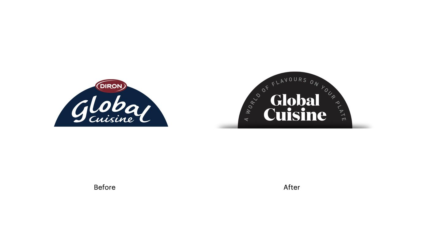 Global Cuisine logo before and after
