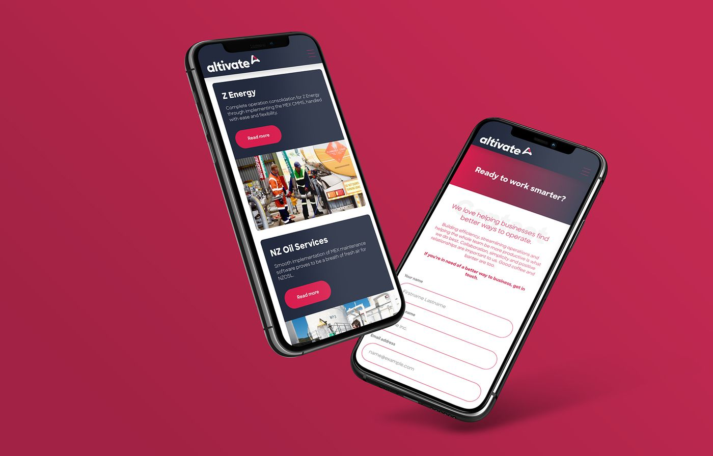 Altivate website on mobile phones