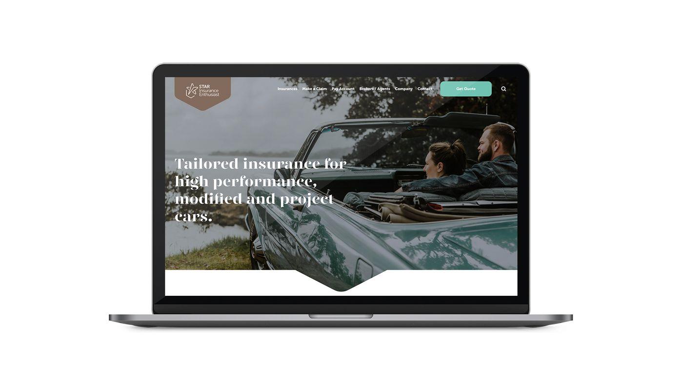 Star insurance website on laptop