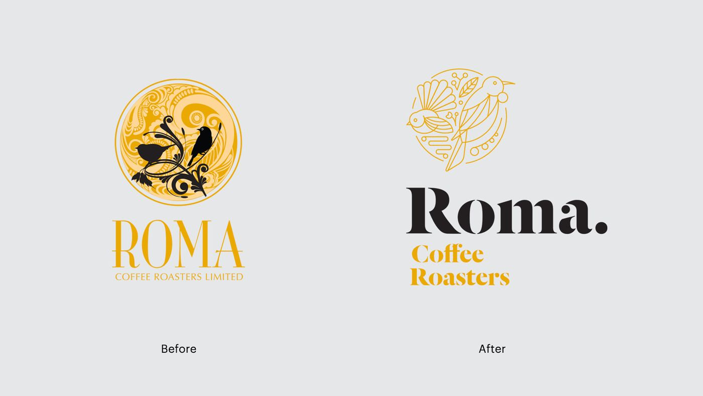 Roma logo before and after