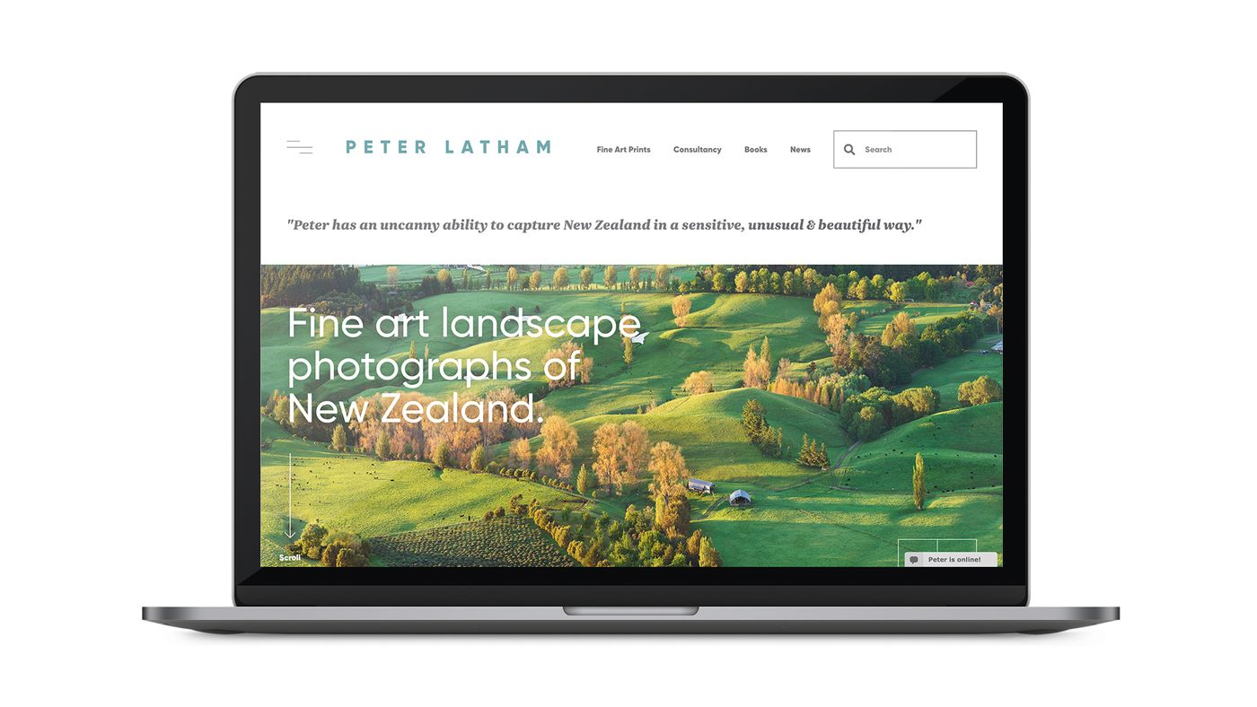 Peter latham photographer website on laptop