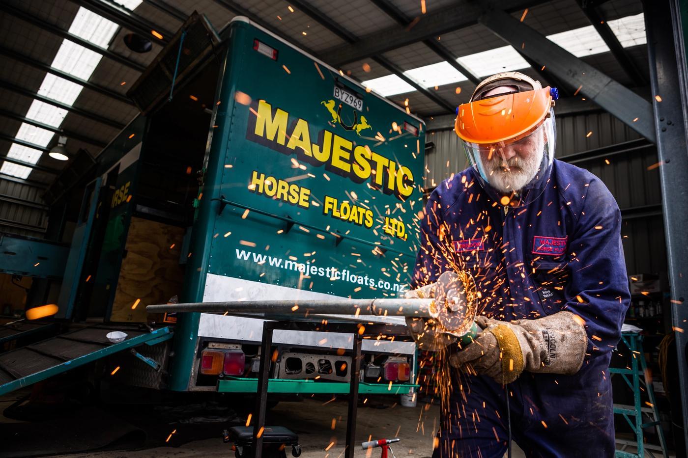Repairing horse float truck