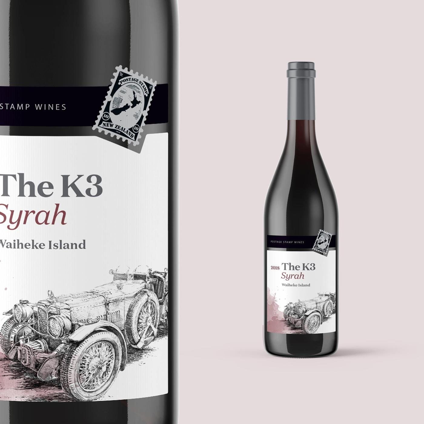 Postage stamp wines syrah label