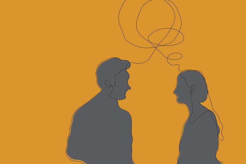 Illustration of two people in conversation
