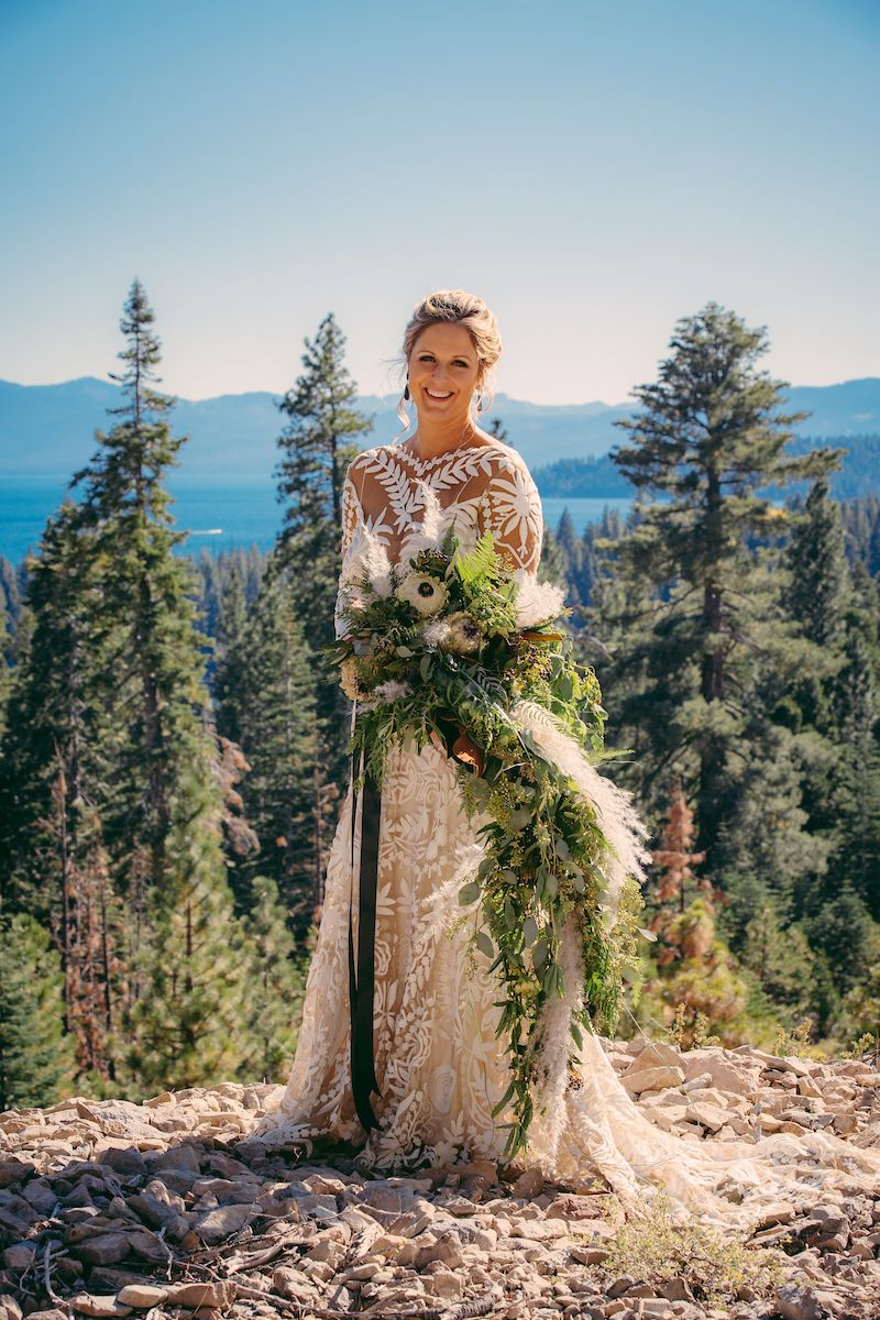 Bride with trees in background