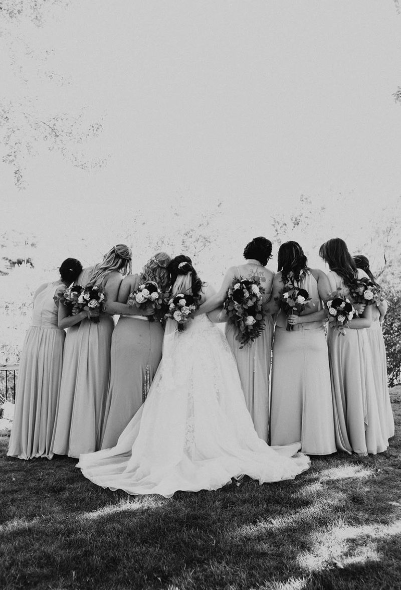 Black and White Bride with Bridesmaids