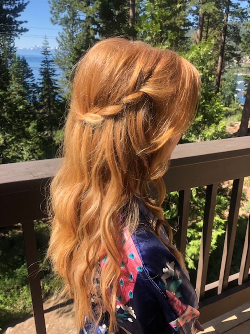 Red hair with braid