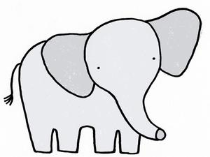 Illustration of an elephant by Alice Walters
