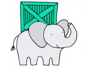 Illustration of an elephant carrying a crate by Alice Walters
