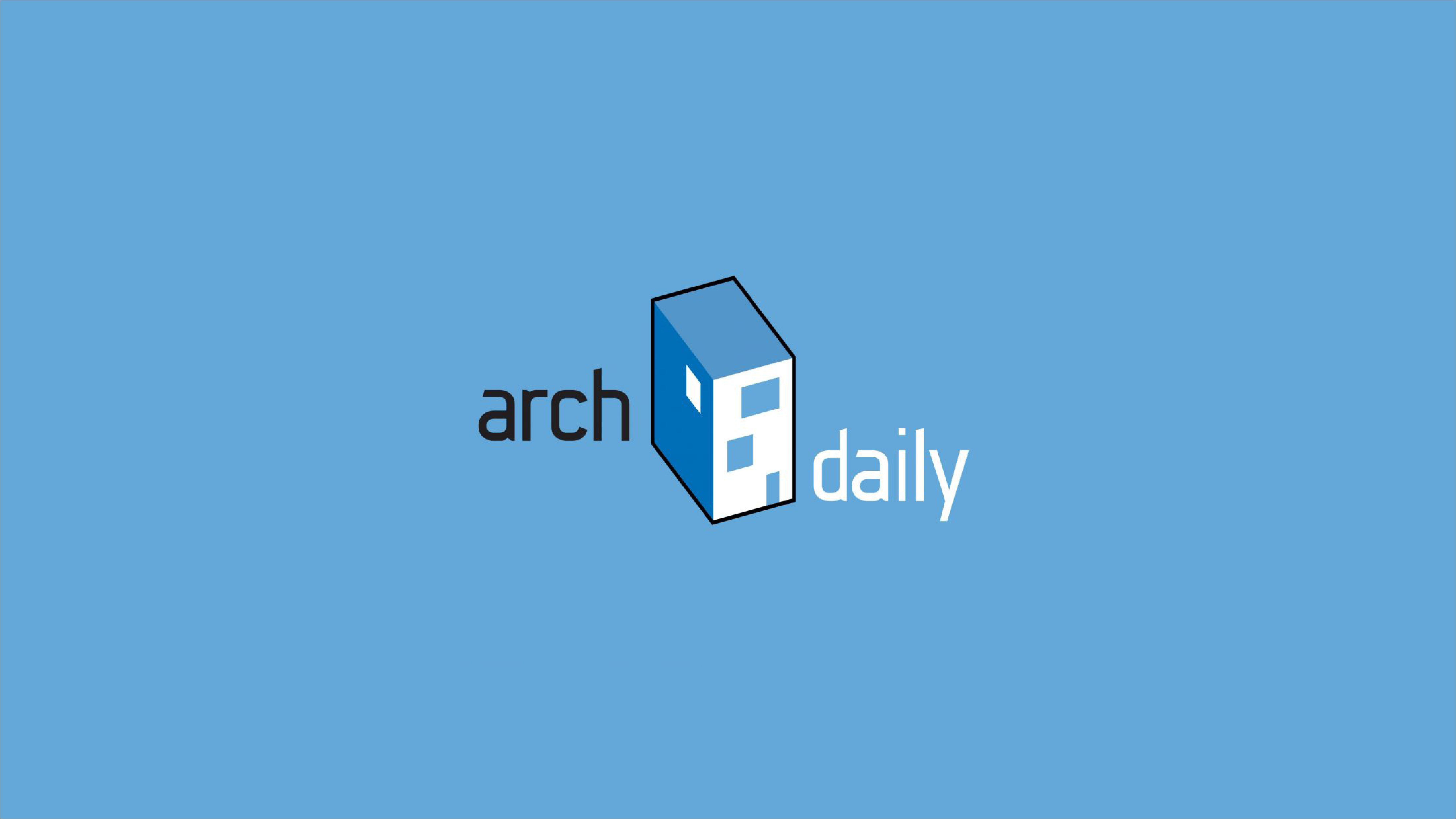 The word ArchDaily on a blue background