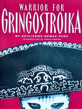 Book cover of masked face looking out from under a sombrero. Red background.
