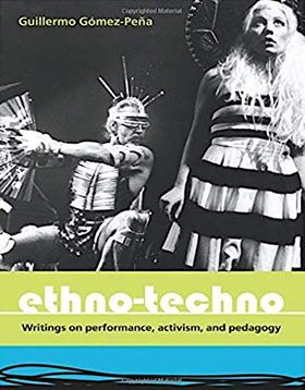 Book cover. GGP seated in ethno-techno attire and blond-haired woman standing in a dress with sombrero hat on.