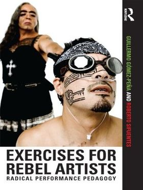 Book cover. GGP wearing a black dress holding the head of a man in a bandana and black goggles.