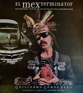 Book cover of GGP holding a read heart artifact with feathered head dress and green vintage car behind.
