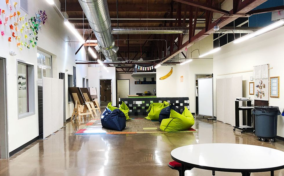 "Giant bean bag chairs are featured in the Middle School ""Lounge""."