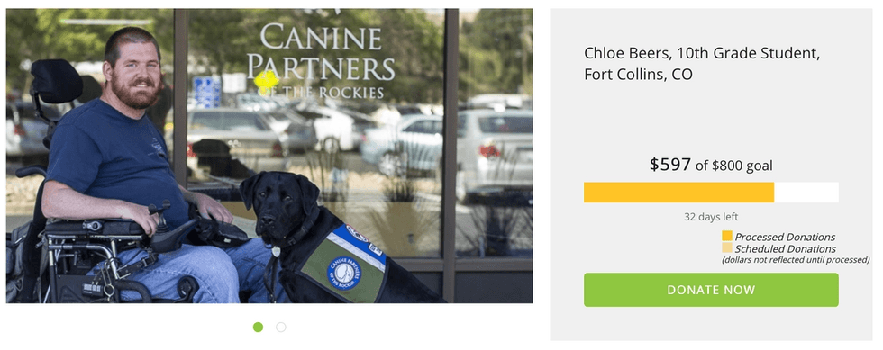 Compass Community Collaborative School student raises funds for Canine Partners of the Rockies