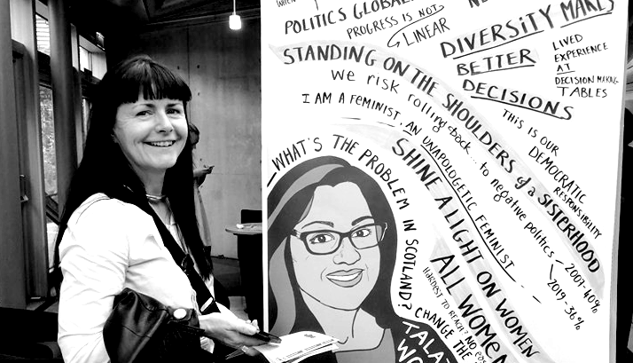 Kairin van Sweeden, one of the claimants, is posing in front of a feminist poster