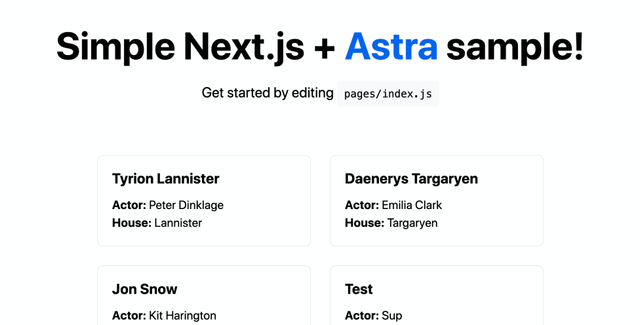 Example of Next.js + Astra Starter