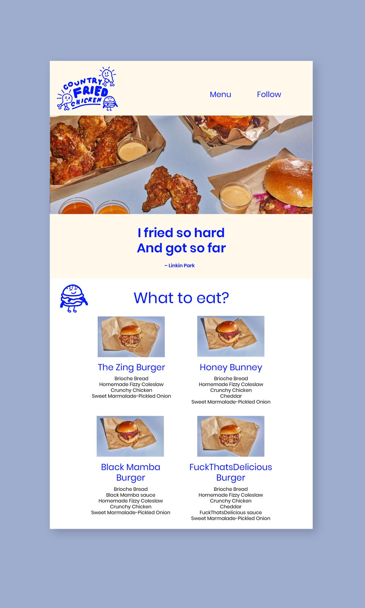 Nettside for Country fried chicken