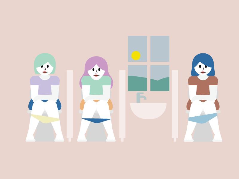 En illustrasjon som viser tre kvinner som sitter på toalettet og smiler