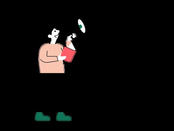 Illustrasjon av mann som leser bok høyt gjennom en megafon