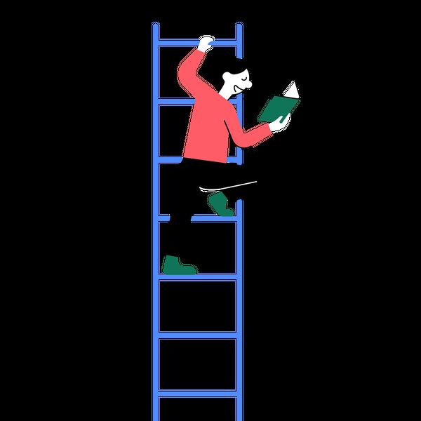 Illustrasjon av mann i en stige som leser bok